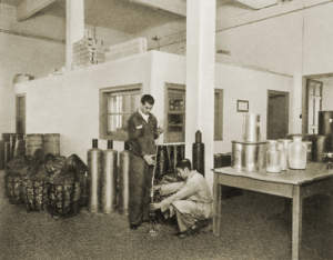 "Photograph of ""The starting materials are in our warehouse, where samples are taken..."""